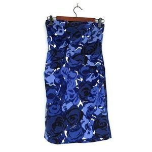 Ann Taylor Blue Floral Strapless Sheath Dress